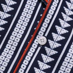 Mens Ethnic Stripe Printed Chest Pocket Turn Down Collar Short Sleeve Loose Shirts