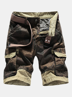Mens Summer Breathable Cotton Cargo Shorts Multi-bolso Camouflage Knee Length Casual Shorts