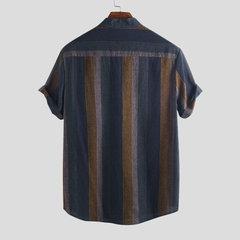 Mens Summer Loose Stehkragen Kurzarm gestreiften Baumwolle Henley-Shirt