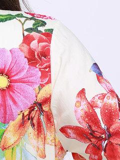 Women V-neck Long Sleeve Floral Printed Jumpsuit