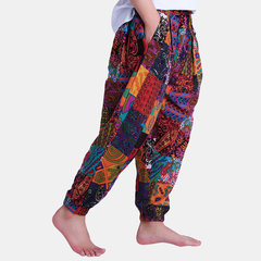 Mens Ethnic Style Printed Elastic Waist Drawstring Loose Cotton Casual Harem Pants