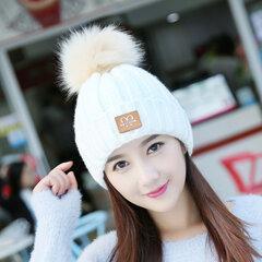 Женщины Зимний Теплый Твердый Цвет Skullies Beanies Hat с мехом Pompom Windproof Ear Warm Knitted Hat