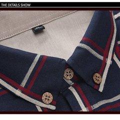 Moda uomo Plaid Business Casual Large Size a maniche lunghe Sottile Cotone Camicia