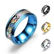 Unisex 8mm Stainless Steel Ring Colorful Dragon Pattern Blue Gold Couple Rings for Men Women Gift