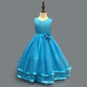 Flower Toddlers Girls Sleeveless Pageant Princess Party Wedding Tulle Abito lungo per 4-15Y