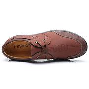 Men Microfiber Leather Lace Up Wear-resistant Casual Shoes