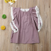 Girls Lace Ruffled Short-Sleeved Princess Dress For 1-7Y