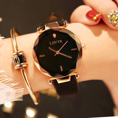 Fashion Quartz WristWatch Thin Stainless Steel Black White Round Dial Leather Strap Watch for Women