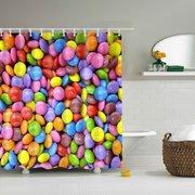 180CM x 180CM Creative Multicolor Shower Curtain With 12 Hooks Novel Bathroom Decor