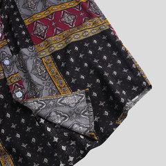 Chemise décontractée mince à manches courtes pour hommes, style vintage, impression vintage