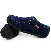 Men Suede Snail Lace Up Casual Loafers