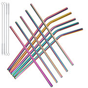 7Pcs Stainless Steel Reusable Drinking Straws with Cleaner Brush Portable Environmental Tools