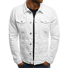 Men's Multi Pockets Cotton Turn Down Collar  Fitness Denim Casual Jacket