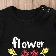 2pcs Blumen-Druck-Mädchen, die gesetzte Oberseite + lange Hosen für 1Y-7Y kleiden