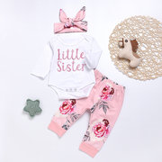 3Pcs Little Sister Floral Printed Girls Romper Clothing Set For 0-24M