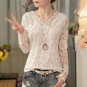 V-neck lace long-sleeved casual shirt