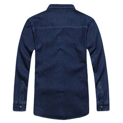 Casual Solid Color Loose Water Washed Cotton Denim Shirts for Men
