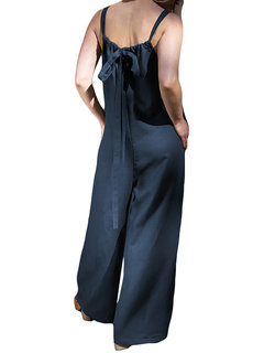 Casual Straps Back Bow Knot Plus Size Jumpsuit with Pockets