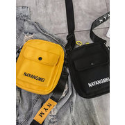 Women Canvas Plain Hip-hop Shoulder Bag Crossbody Phone Bag