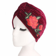 Women Gold Velvet Embroidery Flowers Beanie Hat Breathable Cancer Chemo Turban Head Wrap Cap