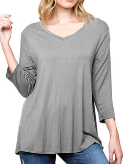 Casual Back Diagonal Button Solid Color V-Neck Loose Blouse