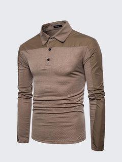 Mens Brief Style Patchwork Golf Camisa Transpirable Delgado Fit Casual Camiseta de manga larga