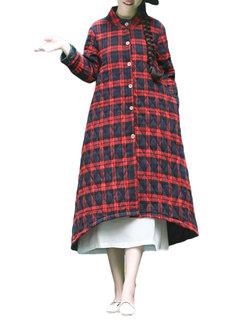 Plaid Button Long Sleeve Long Cotton Vintage Coat