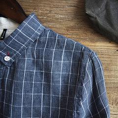 T-shirt casual da uomo a maniche lunghe vintage a maniche lunghe in cotone scozzese Pulsanti