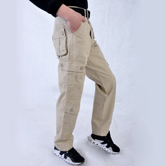 Plus Size Loose Breathable Cotton Multi-pocket Business Casual Straight Cargo Pants for Men