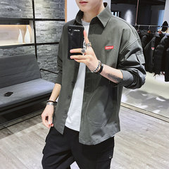 Chemise à manches longues pour homme Saison Youth Chemise Casual Slim Trend Casual Chemise Grande Taille Homme B