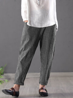 Vintage Plaid Elastic Waist Pants with Pockets