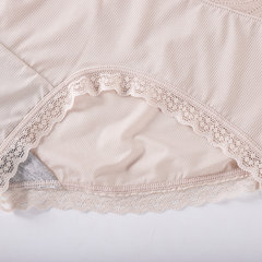 Lace-trim Ice Silk Breathable Full Hip Mid Waisted Panties