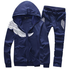 Mens Casual Sport Suit Wings Printed Zip Up Hoodies Elastic Waist Jogger Pants
