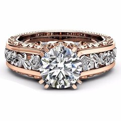 Luxury Topaz Stone Inlaid 14K Rose Gold Flower Hollow Platinum Rings Wedding Gift for Her