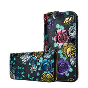 Brenice Embossing Rose Flowers Long Wallets Zipper Card Holder Coin Purse