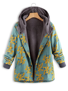 Floral Print Cotton Fleece Hooded Autumn Winter Coat