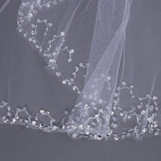 White 2 Layers Bride Ivory Elbow Beaded Edge Pearl Sequins Bridal Wedding Veil With Comb