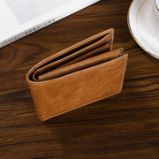 Vintage RFID Antimagnetic Genuine Leather Multi-functional Trifold Wallet For Men
