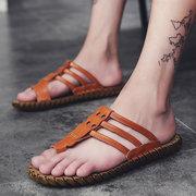 Sandali casual in morbida pelle con cuciture a mano