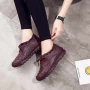 SOCOFY Casual Handmade Stitching Leather Lace Up Flat Casual Shoes