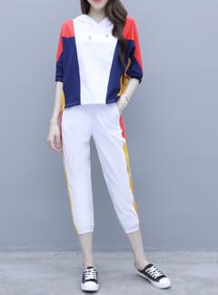 Tuta Pantaloni da donna di grandi dimensioni a due pezzi con cappuccio Camicia Nove Pantaloni Tuta casual