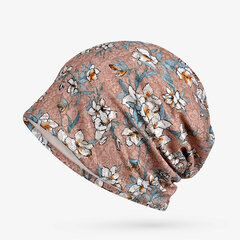 Women Thin Soft Cotton Floral Beanie Hat Outdoor Casual Windproof Useful Hat