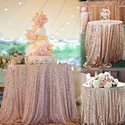 12''x120'' Sparkly Rose Gold Shine Sequin Table Cloth Dinner Wedding Party Decor
