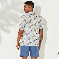 Мужская гавайская свежесть с цветочным принтом и отложным воротником Пляжный Свободные рубашки с коротким рукавом