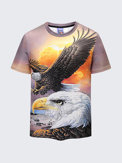 Summer Cool 3D Eagle Printed O-neck Short Sleeve Casual T Shirt for Men