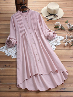 Vintage Solid Color Pleated High Low Plus Size Long Blouse