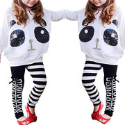2Pcs Panda Pattern Girls Clothing Sets Tops + Striped Pants For 3Y-11Y