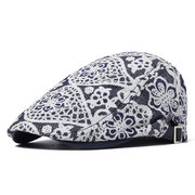 Women National Style Embroidery Flower Pattern Lace Mesh Thin Breathable Fashion Beret Cap