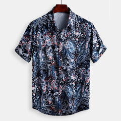 Mens Vintage Floral Printing Turn Down Collar Short Sleeve Loose Shirts
