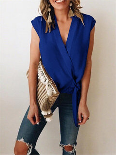 Solid Color Cross Wrap Tie Sleeveless Blouse For Women